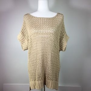Vince Camuto Tan Loose Knit Short Sleeve Sweater M
